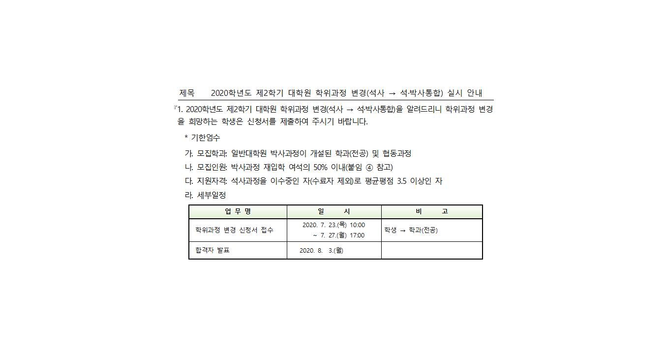 2020학년도 제2학기 대학원 학위과정 변경(석사 → 석·박사통합) 실시 안내